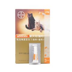 【赠礼盒】拜耳advocate爱沃克猫咪体内体外驱虫滴剂美短布偶加菲波斯 0.4ml 整盒(3支)