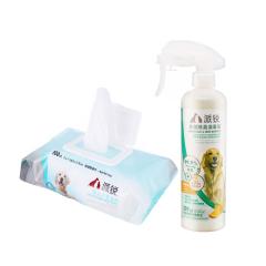 派锐 犬猫通用杀菌除臭剂+狗用保湿湿巾 清洁套装 多种类可选 甜橙味+沐浴湿巾 309ml+100片