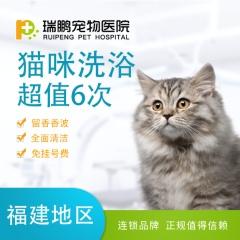 【瑞鹏福州】爱宠喵星人6次洗澡套餐 猫咪洗浴<10kg 短毛猫咪