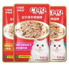 伊纳宝 妙好亲心鲣鱼猫湿粮包营养主食 80g/包 鸡肉配方添加小银鱼、鲣鱼