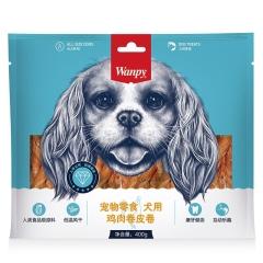 顽皮Wanpy 宠物零食犬用鸡肉卷牛皮卷 鸡肉味 400g